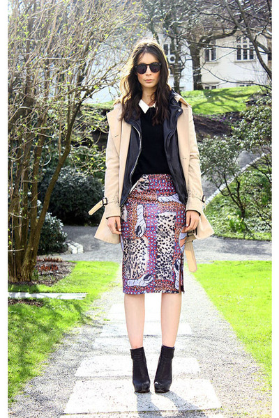 amethyst acne skirt - black Alexander Wang boots - camel Burberry coat