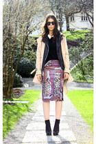 amethyst acne skirt - black Alexander Wang boots - camel Burberry coat