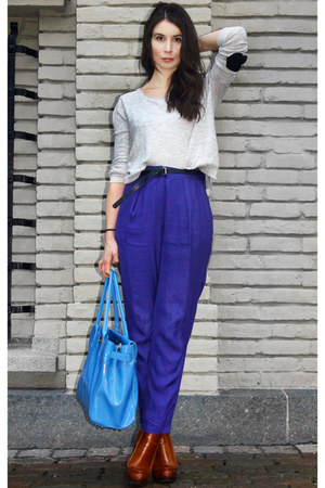 blue H&amp;M Trend pants - tawny Alexander Wang boots - silver GINA TRICOT sweater