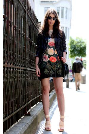 red Stella McCartney dress - black muuba jacket - nude acne heels
