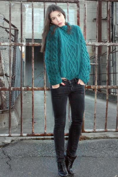 dark green H&M sweater - black Diesel jeans