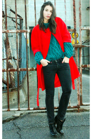 red H&amp;M coat - black Diesel jeans - dark green H&amp;M sweater