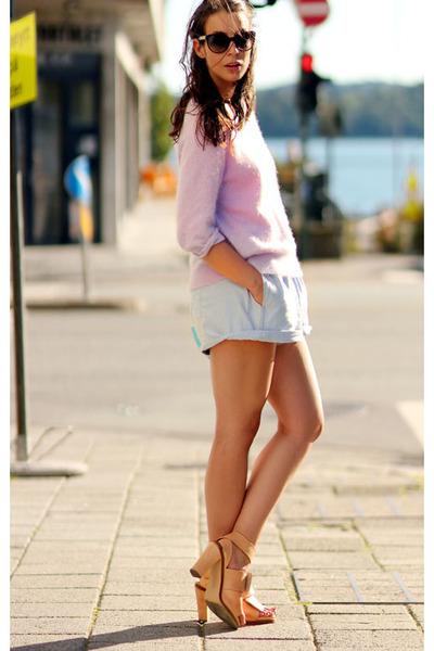 Periwinkle-粉刺毛衣 - 浅蓝色碳水化合物 - 短裤 - 裸体痤疮-Heels_400