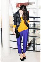 navy H&M Trend pants - mustard lindex sweater - black bronx heels