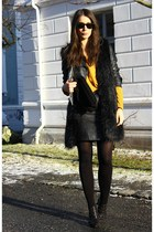 silver H&M vest - black baby phat shoes - mustard lindex sweater