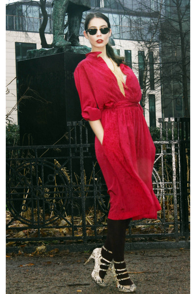 hot pink Halston dress - brown lindex jacket - beige KG pumps