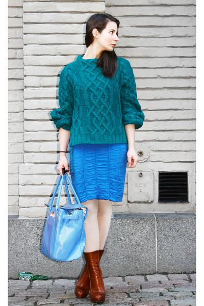 green H&M Trend sweater - tawny Alexander Wang boots - blue Burberry dress