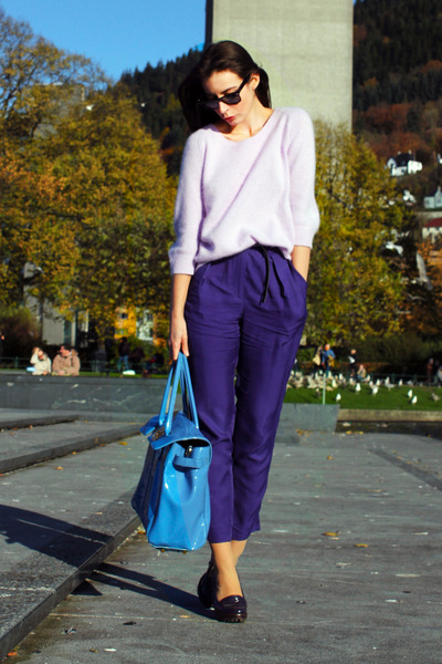 navy H&M Trend pants - light purple acne sweater - purple Michael Kors loafers