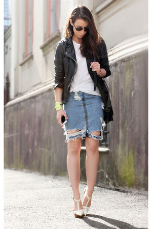 sky blue acne skirt - black muuba jacket - white balenciaga heels