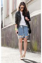 sky blue acne skirt - black muuba jacket - white balenciaga heels