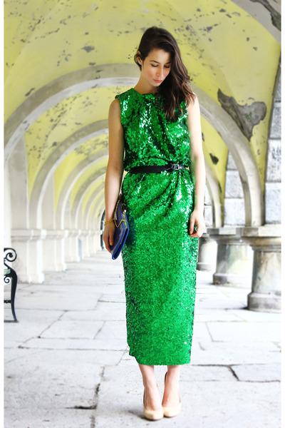green By Malene Birger dress - blue accessorizze purse - peach ted baker heels