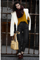 mustard lindex sweater - ruby red H&M scarf - white Burberry cape