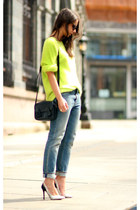 teal acne jeans - chartreuse acne sweatshirt