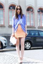 violet acne shirt - peach H&M Trend skirt - peach balenciaga heels
