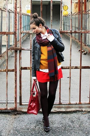 crimson H&M scarf - red H&M dress - burnt orange lindex sweater