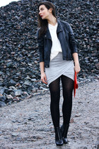 black Leather Biker jacket - heather gray By Malene Birger dress