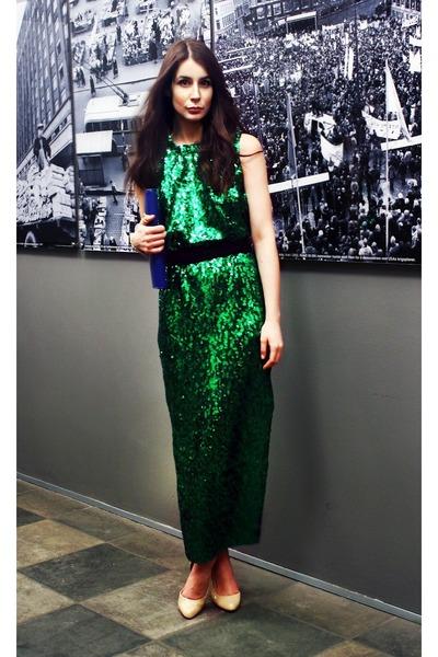 dark green By Malene Birger dress - neutral ted baker pumps