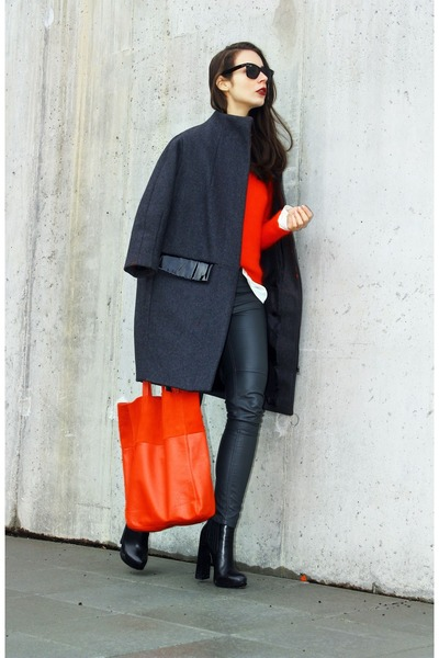 gray H&M Trend coat - black Alexander Wang boots