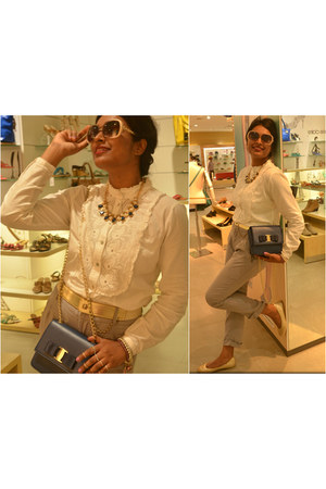 Bata bag - Zara pants - Bata belt - ivory cotton Only blouse - Bata flats