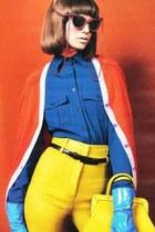 blue Color block blouse