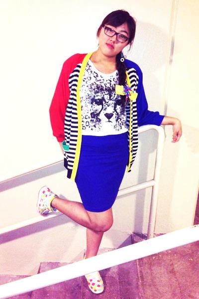 blue Forever21 skirt - yellow nike shoes - white cotton leopard Macys shirt