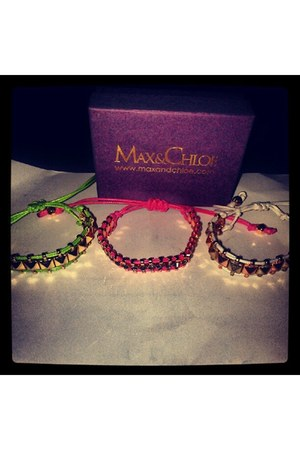hot pink Max & Chloe bracelet - chartreuse Max & Chloe bracelet