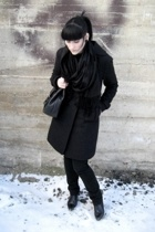 black Jacob Connection coat - black thrifted shoes - black Costa Blanca shirt