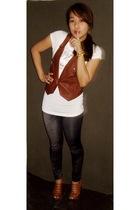 brown random brand vest - gray from singapore leggings - white sm department sto