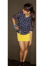 Blue-random-from-mom-top-top-gold-gap-skirt-black-shoran-and-modern-shoes