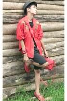 red christian dior blazer - red satchel Ungaro bag - black versace shorts