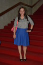 Blue-veeko-skirt-heather-gray-zara-top-aqua-and-purple-extreme-finds-necklac