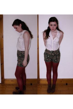 green Urban Outfitters shorts - brown dunnes stores boots - white H&M shirt