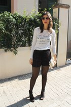 Zara shorts - Bershka bag - asos sunglasses - Bershka jumper - Zara sandals