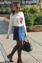 denim Zara skirt - Zara boots - Stradivarius bag - Primark sunglasses