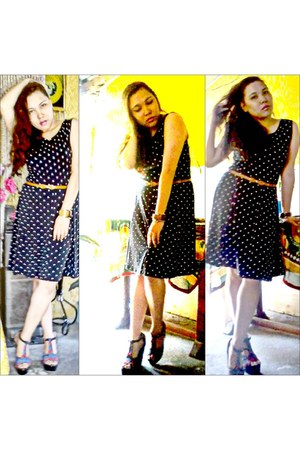 polka dotted FX dress - tribal inspired Asian Vogue wedges
