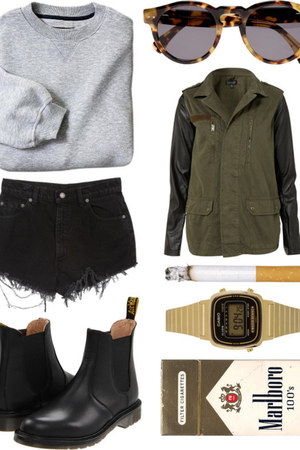 black boots - heather gray sweater - black shorts - camel sunglasses
