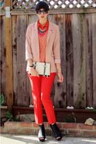 red asos pants