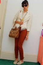 tawny J Brand jeans - beige vintage blazer - beige vintage shirt - brown bag