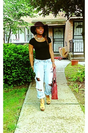 DIY jeans - hat - bodysuit - BCBG clogs