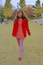 red red Forever 21 coat - red shoes - salmon ruffle dress dress
