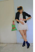 white vintage dress - black shirt - blue socks