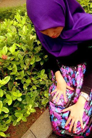 purple amartas collection scarf - purple flea market dress - black Miu Miu leggi