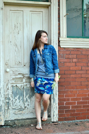 gray garage t-shirt - blue kohls jacket - blue anne taylor loft skirt - silver a