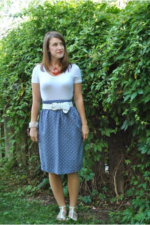 white Forever 21 top - blue vintage skirt - white Forever 21 shoes