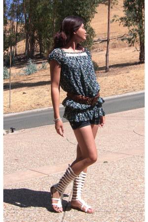 eggshell non-branded sandals - navy denim shorts non-branded shorts