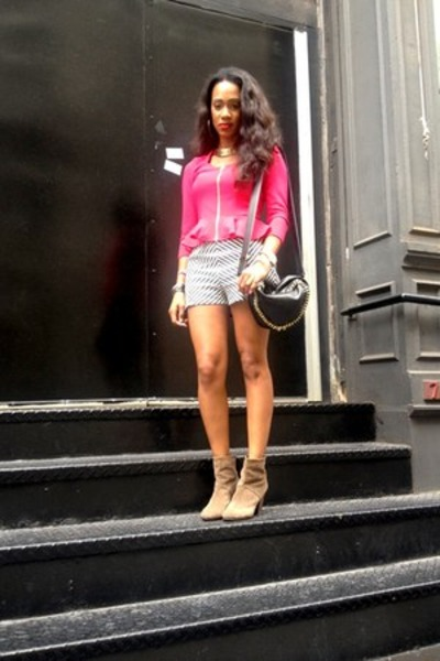 charcoal gray shorts - light brown short bootie boots - hot pink peplum jacket