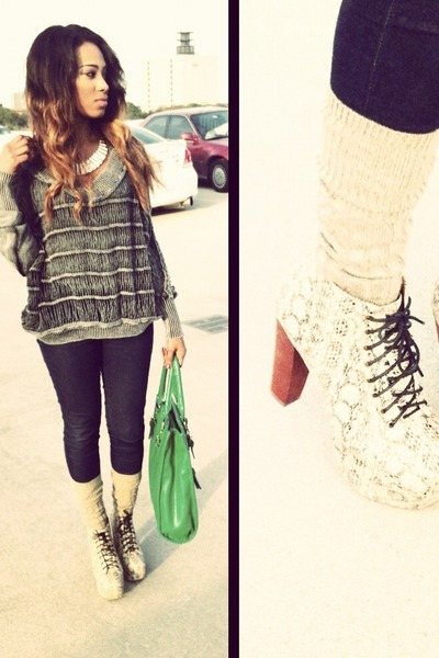 tan snakeskin Jeffrey Campbell boots - heather gray crochet Ross sweater