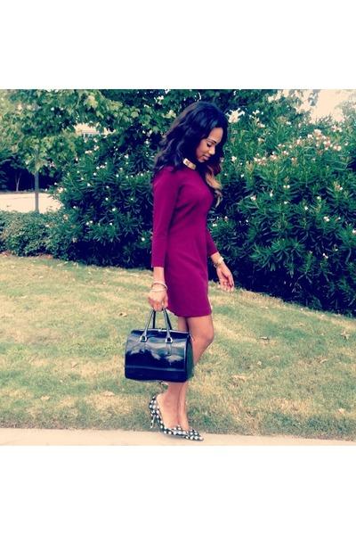 maroon dress - black Furla bag - black kate spade pumps