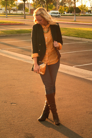 navy Anthropologie blazer - brown Sofft boots - blue citizens of humanity jeans
