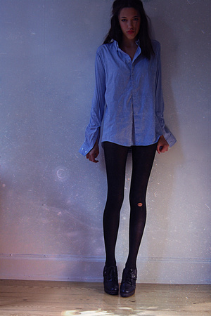 American Apparel shirt - American Apparel tights - Din Sko shoes